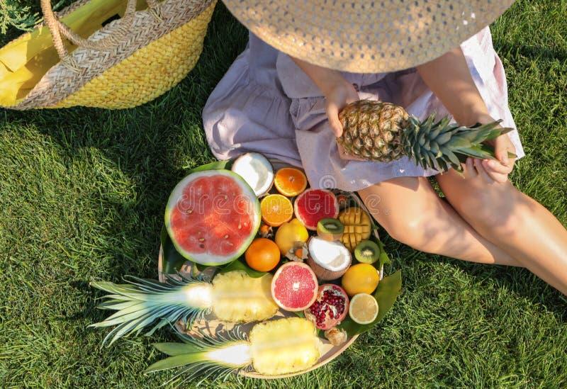Jeune femme avec de divers fruits délicieux sur le pique-nique d'été en parc image libre de droits