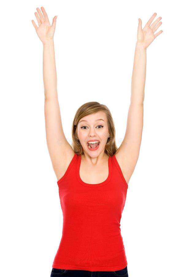 Jeune femme avec des bras augmentés image stock