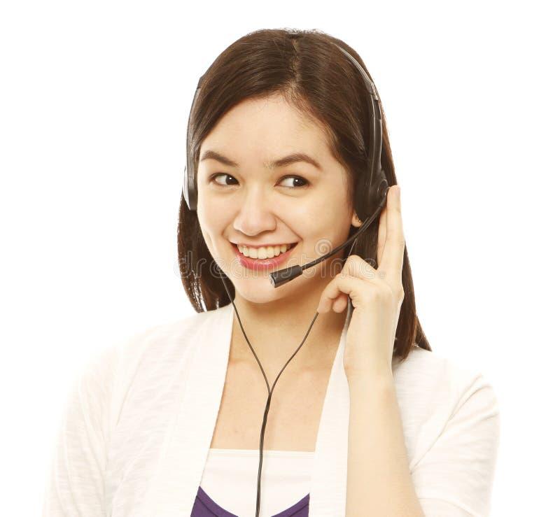 Jeune femme avec l'écouteur images stock