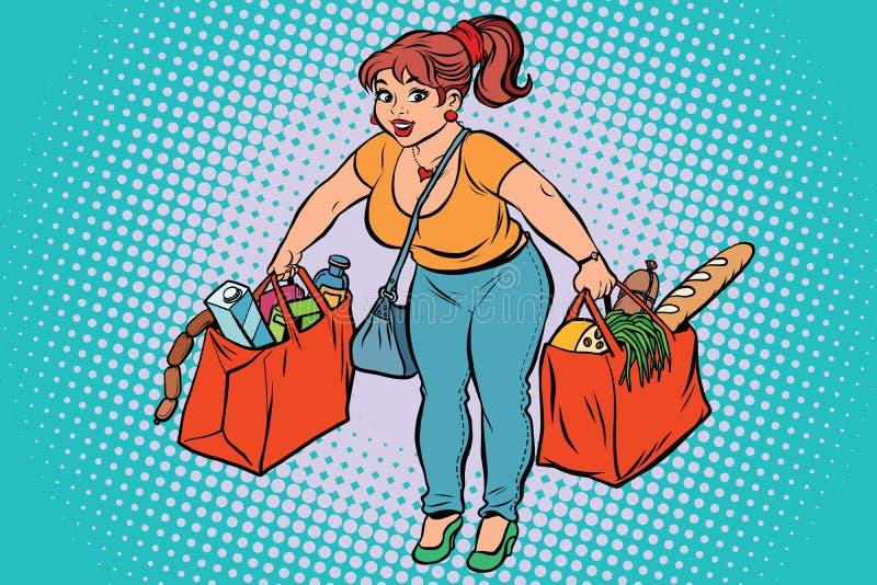 Jeune femme avec l'épicerie illustration stock