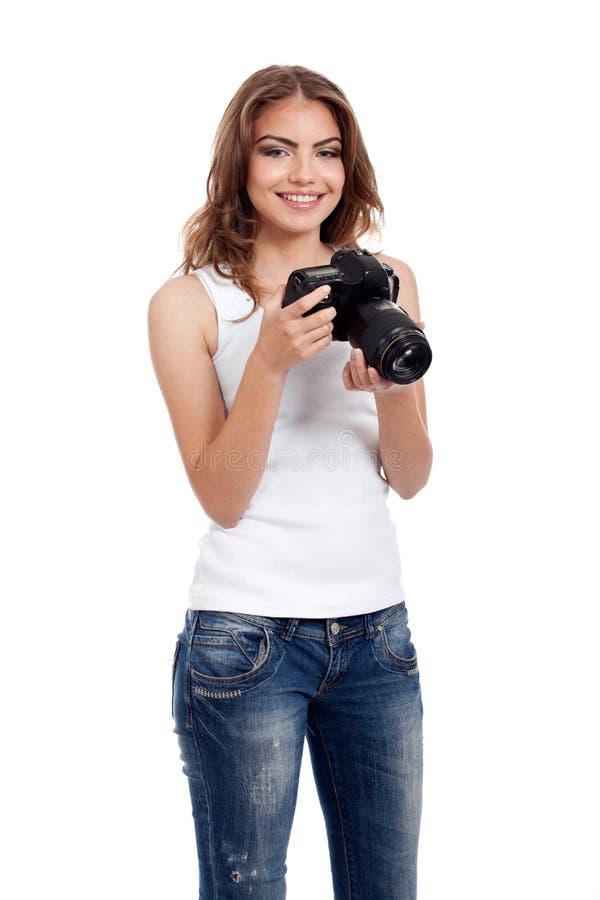 Jeune femme avec l'appareil-photo de photo photo stock