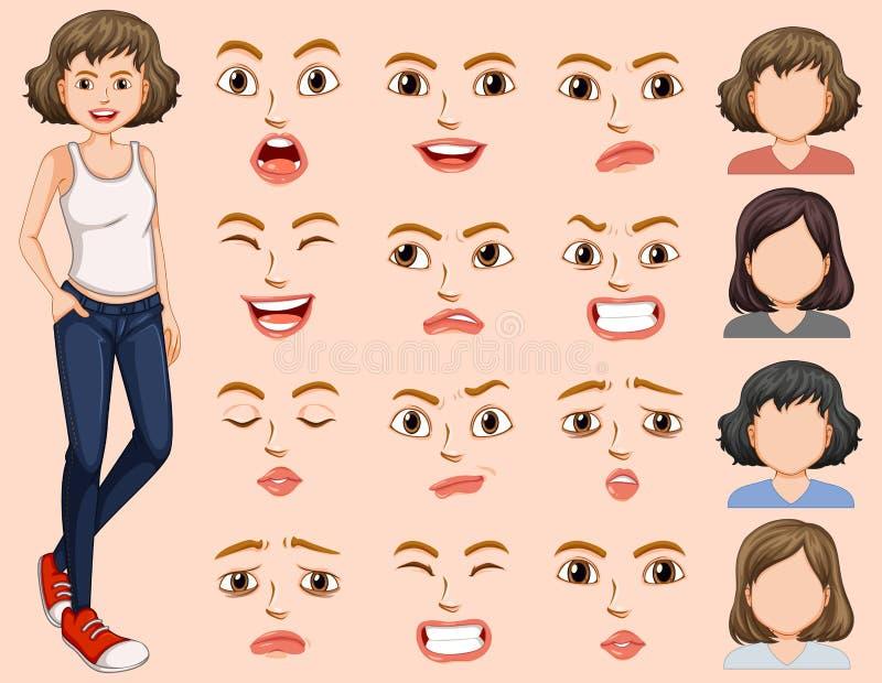 Jeune femme avec l'expression du visage différente illustration stock
