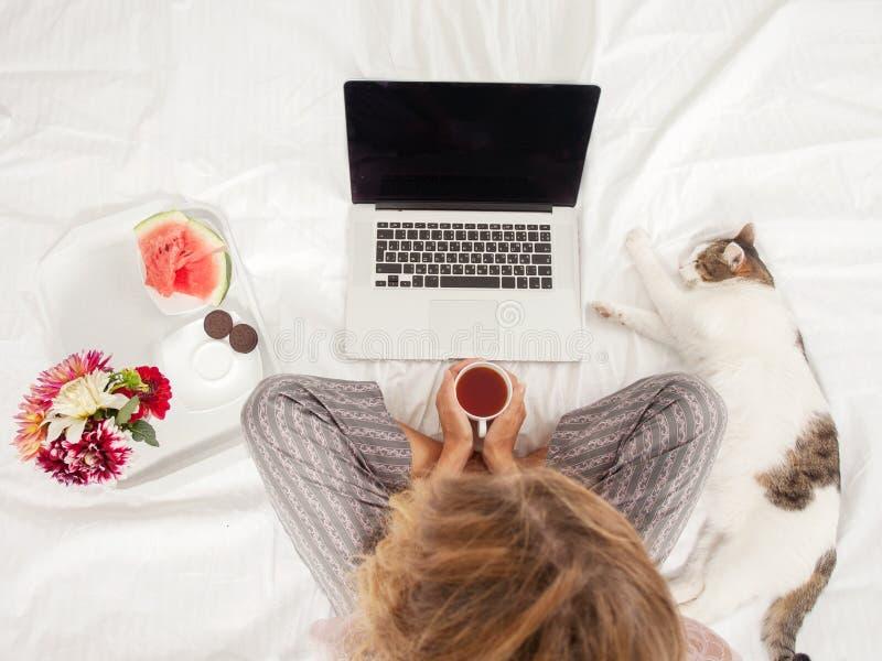 Jeune femme avec l'ordinateur portable dans le lit photographie stock libre de droits