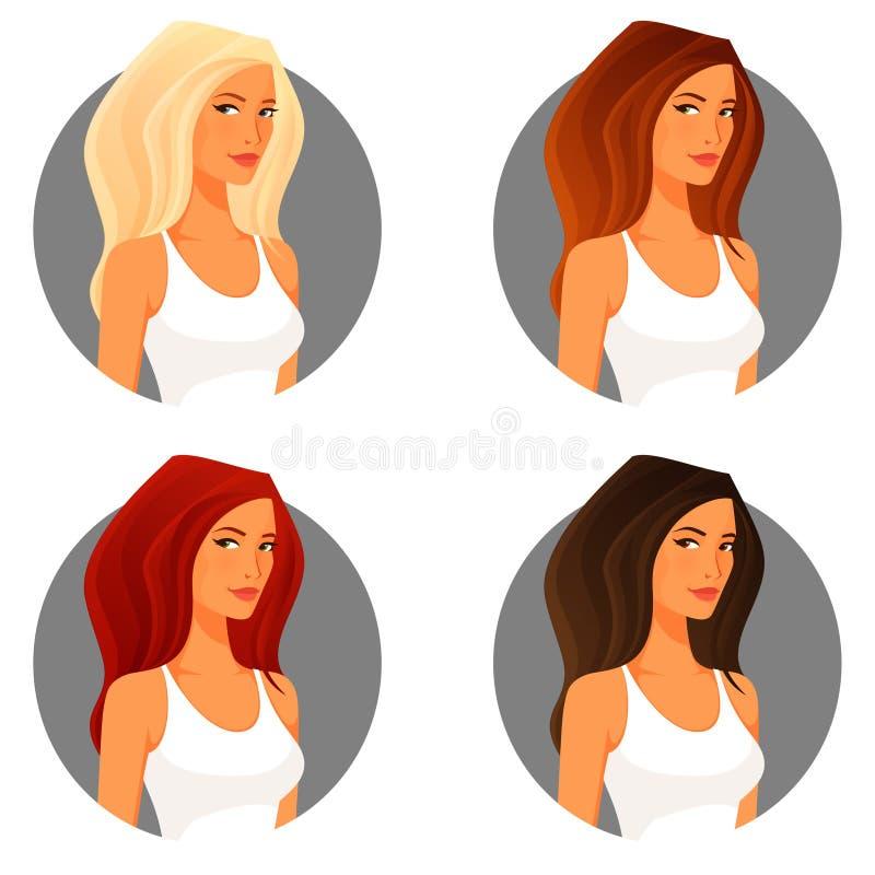 Jeune femme avec la couleur différente de cheveux illustration stock