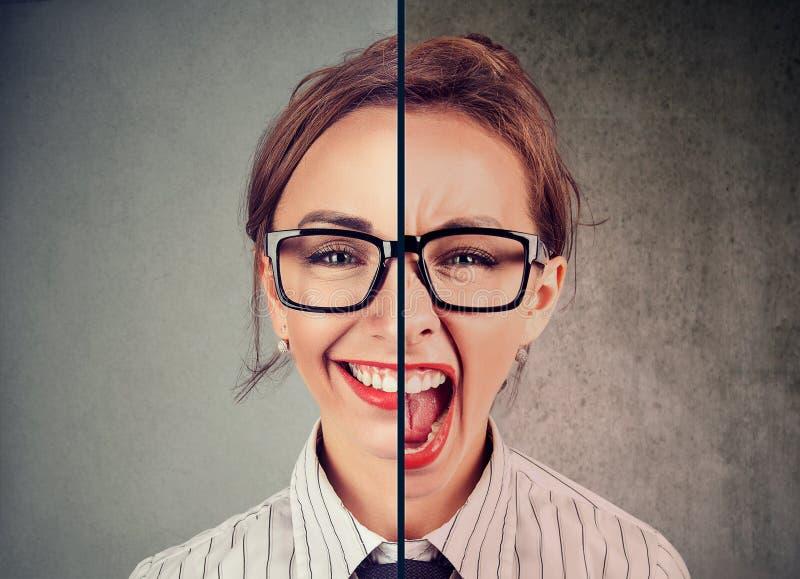 Jeune femme avec la double expression de visage photos stock