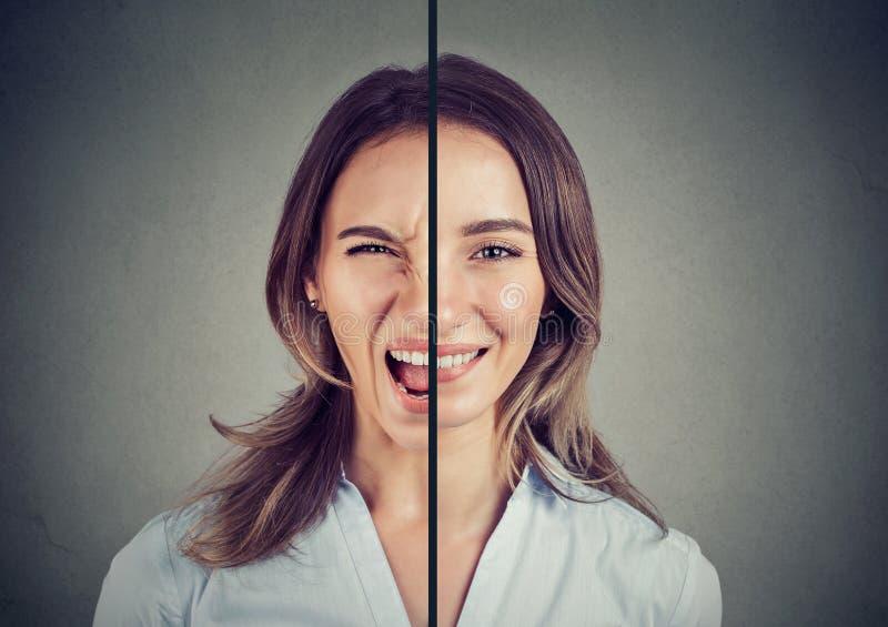 Jeune femme avec la double expression de visage photos libres de droits