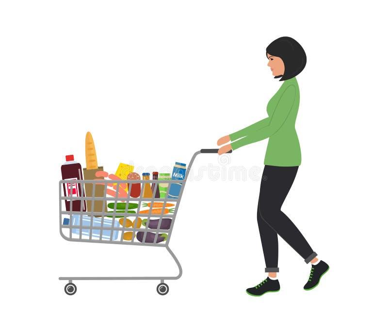 Jeune femme avec le caddie complètement de la nourriture et des boissons illustration stock