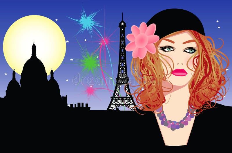 Jeune femme avec le chapeau à Paris illustration libre de droits