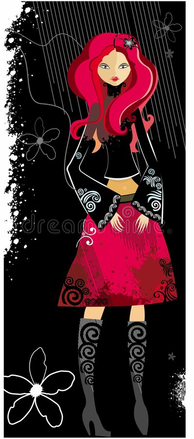 jeune femme avec le cheveu rouge illustration stock