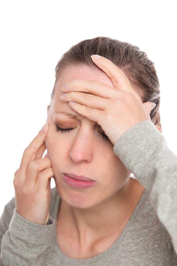Jeune femme avec le mal de visage, la névralgie ou douleur de nerf trijumeau image stock