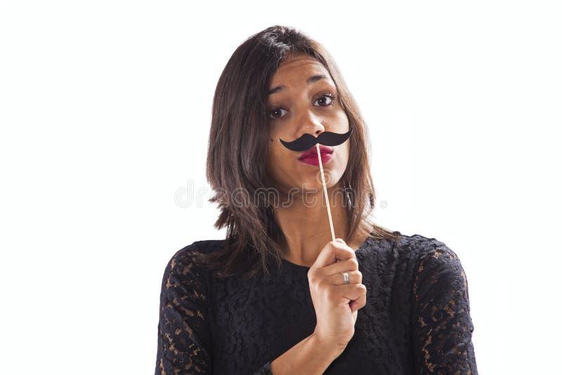 Jeune femme avec le mostache images libres de droits