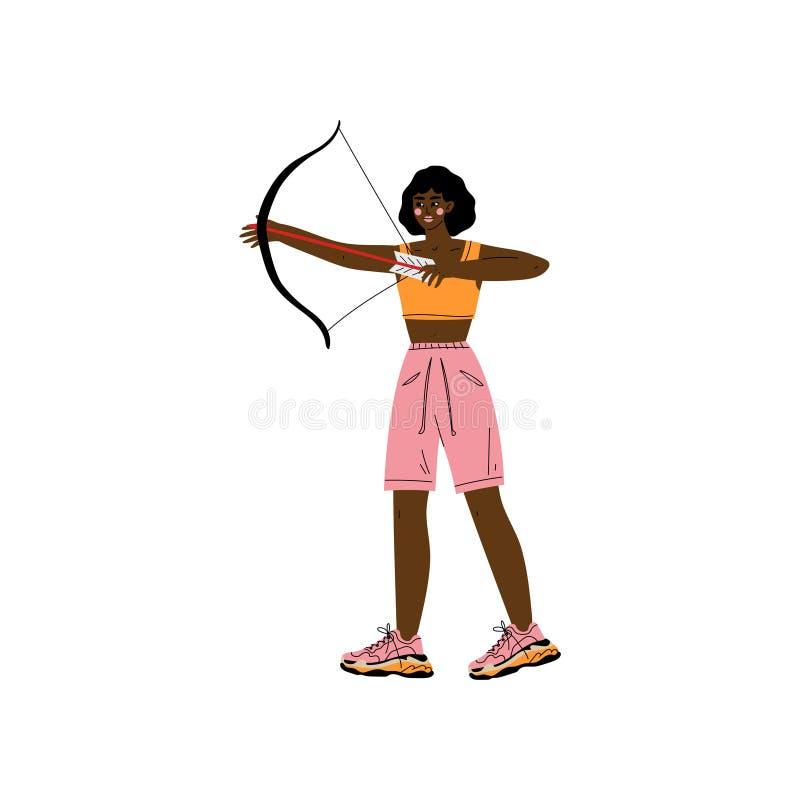 Jeune femme avec le tir à l'arc, athlète Character Practicing d'Afro-américain dans le tir à l'arc, mode de vie sain actif illustration de vecteur