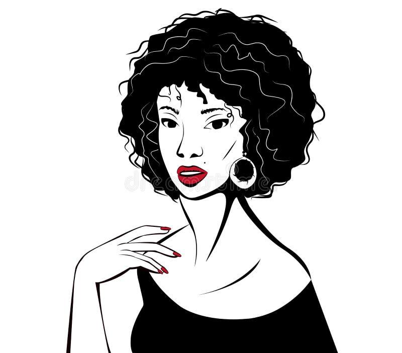 Download Jeune Femme Avec Les Languettes Rouges Illustration de Vecteur - Illustration du femme, humain: 76081889