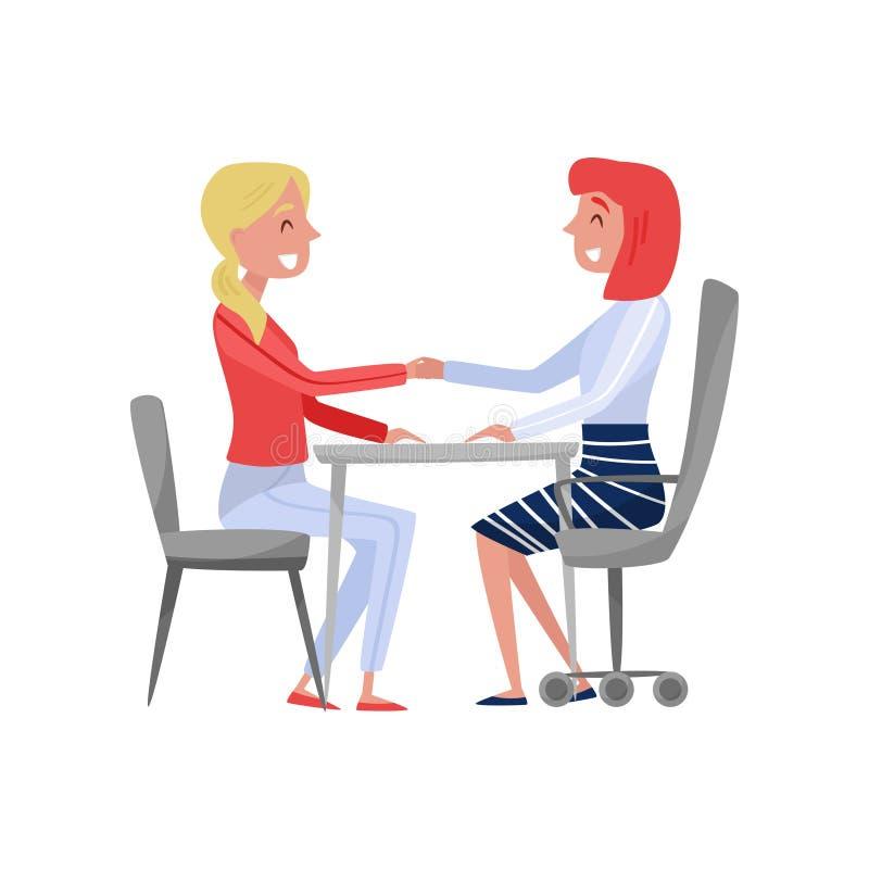 Jeune femme ayant l'entrevue d'emploi avec le spécialiste, le demandeur d'emploi et l'employeur en heure s'asseyant à la table et illustration de vecteur