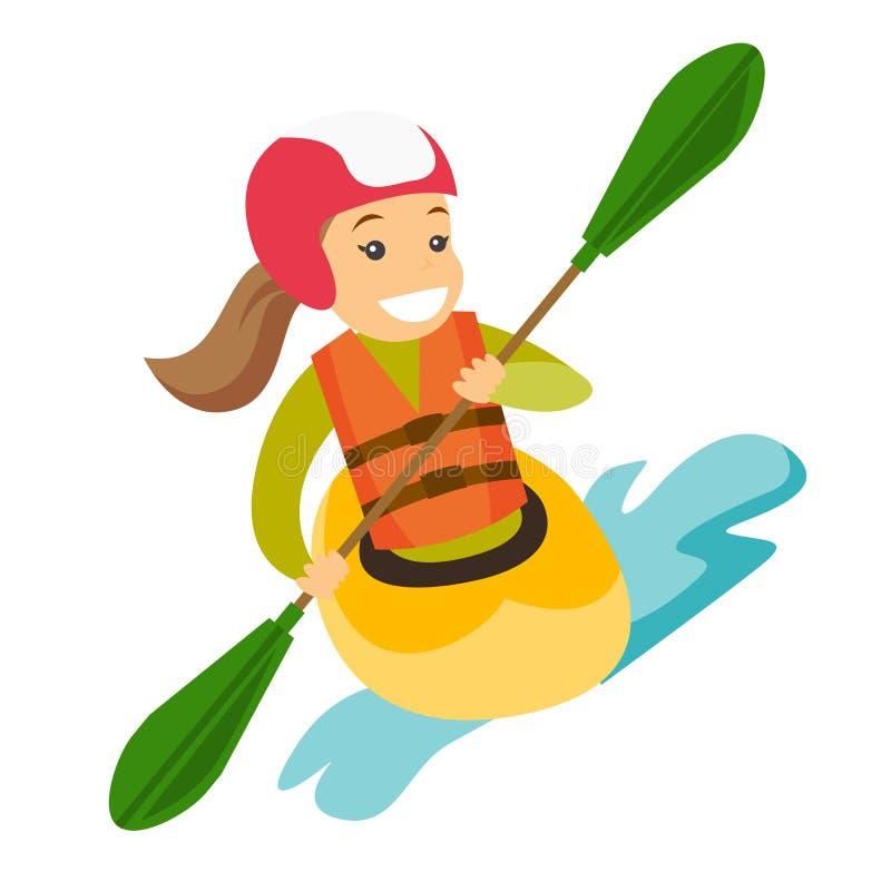 Jeune femme blanche caucasienne montant un kayak illustration stock