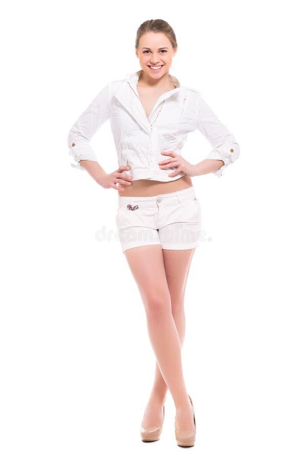 Jeune femme blonde gaie image stock