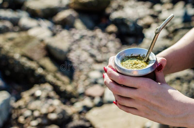 Jeune femme buvant du thé argentin traditionnel de compagnon de yerba de la courge de calebasse images stock