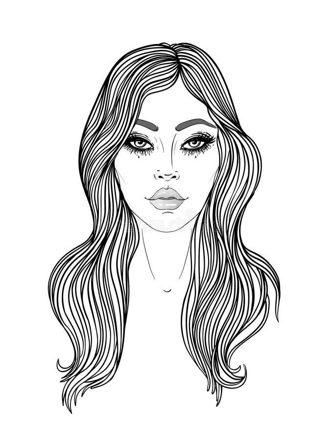 Jeune femme caucasienne avec la longue illustration de mode de cheveux d'isolement sur le blanc Diagramme de visage Soins de la p illustration de vecteur