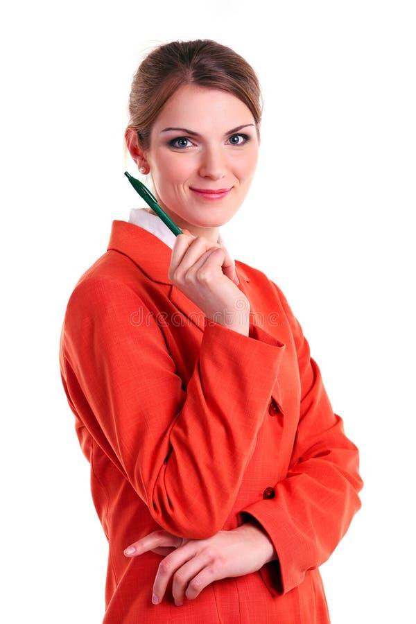 Jeune femme caucasienne d'affaires retenant un crayon lecteur images libres de droits