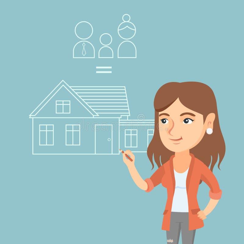 Jeune femme caucasienne dessinant sa maison de famille illustration de vecteur