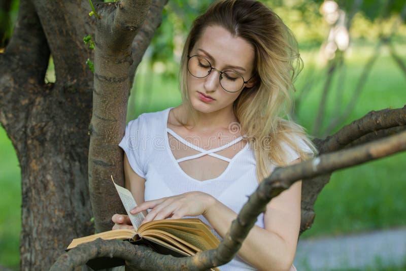 Jeune femme caucasienne lisant un livre en parc se penchant sur une branche d'arbre photos stock