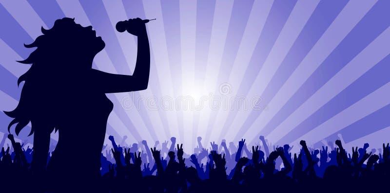 Jeune femme chantant sur l'étape