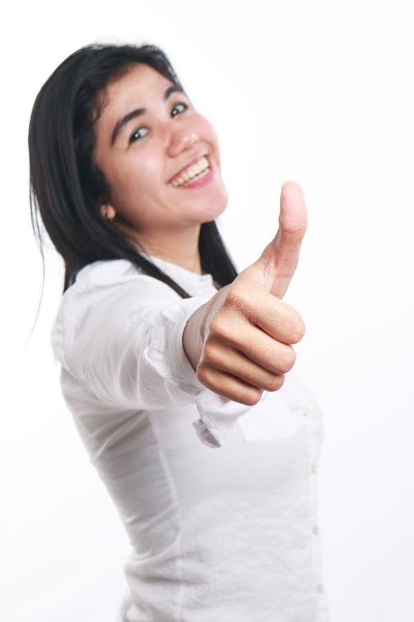 Jeune femme d'affaires asiatique Showing Thumb Up photo libre de droits