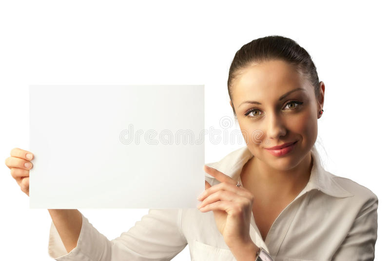 Jeune femme d'affaires attirante avec l'espace de copie photo stock