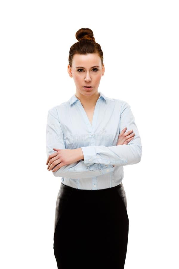 Jeune femme d'affaires attirante sur le fond blanc images stock