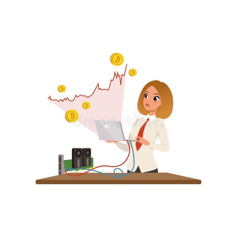 Jeune femme d'affaires avec l'ordinateur portable dans des mains extrayant des bitcoins Graphique croissant rouge Mineur de GPU T illustration de vecteur