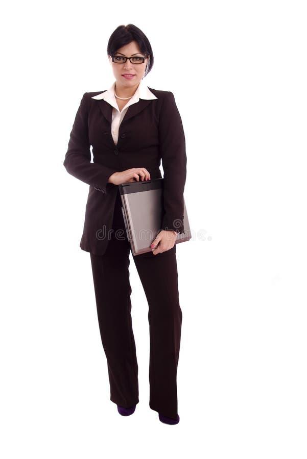 Jeune femme d'affaires avec l'ordinateur portatif images libres de droits