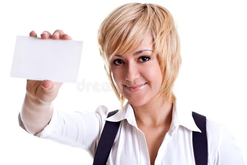 Jeune femme d'affaires avec la carte de visite professionnelle de visite images libres de droits