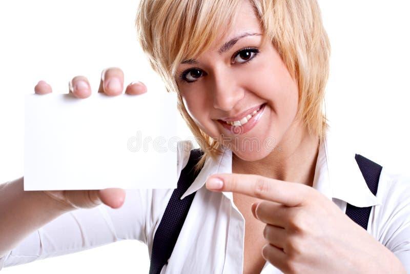 Jeune femme d'affaires avec la carte de visite professionnelle de visite photos libres de droits