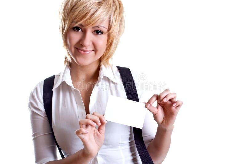 Jeune femme d'affaires avec la carte de visite professionnelle de visite photos stock