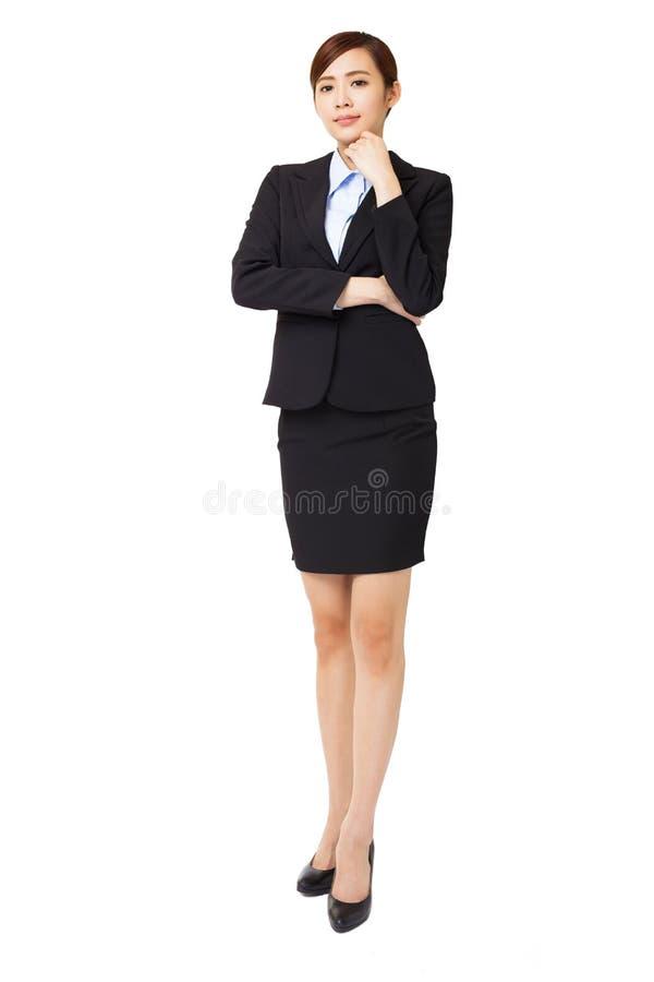 jeune femme d'affaires avec le geste de pensée photo stock