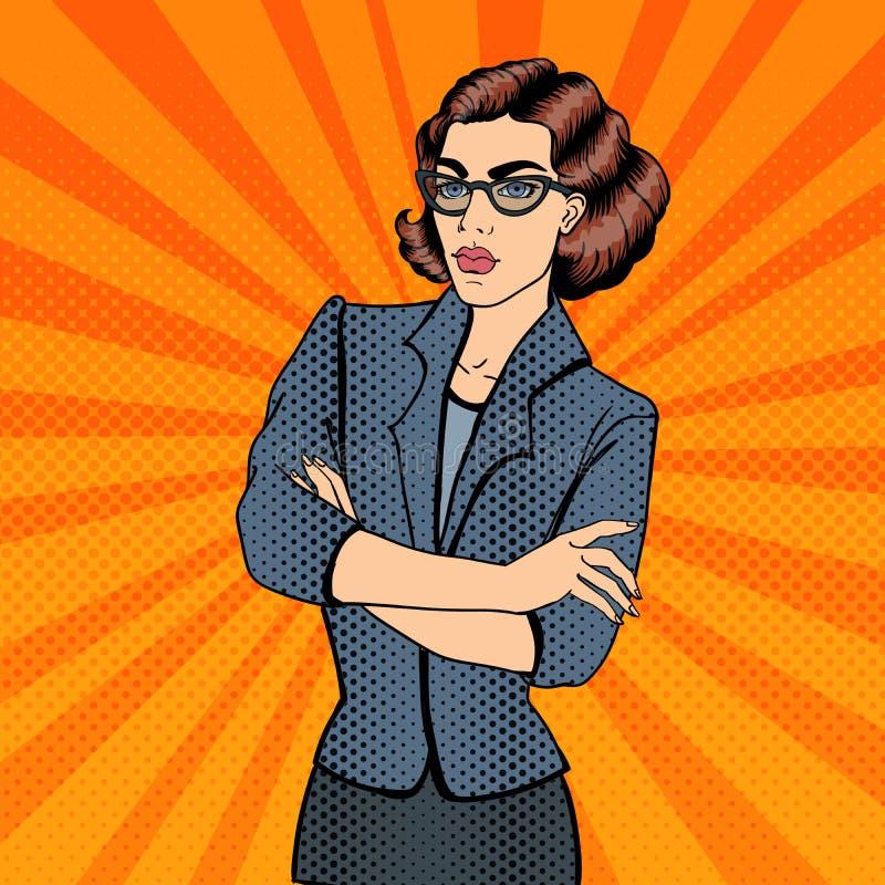 Jeune femme d'affaires confiante Art de bruit illustration de vecteur