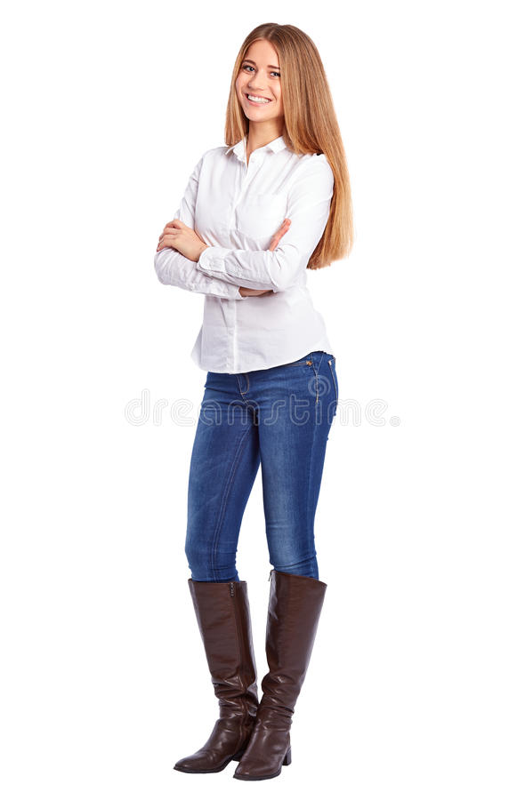 Jeune femme d'affaires dans la chemise blanche se tenant avec les bras croisés photos stock