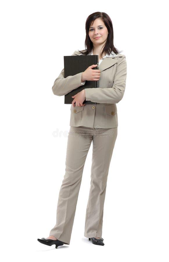 Jeune femme d'affaires de brunette avec une carte photographie stock