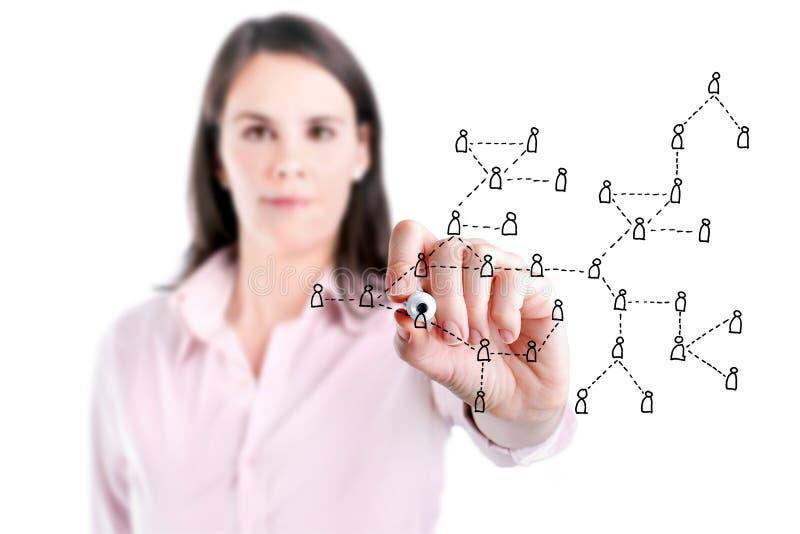 Jeune femme d'affaires dessinant le concept social de réseau. photo libre de droits