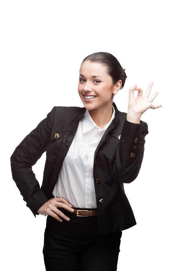 Jeune femme d'affaires gaie sur le blanc photo libre de droits