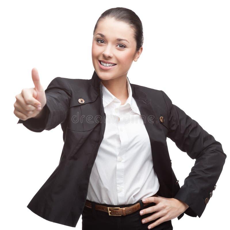 Jeune femme d'affaires gaie sur le blanc image stock