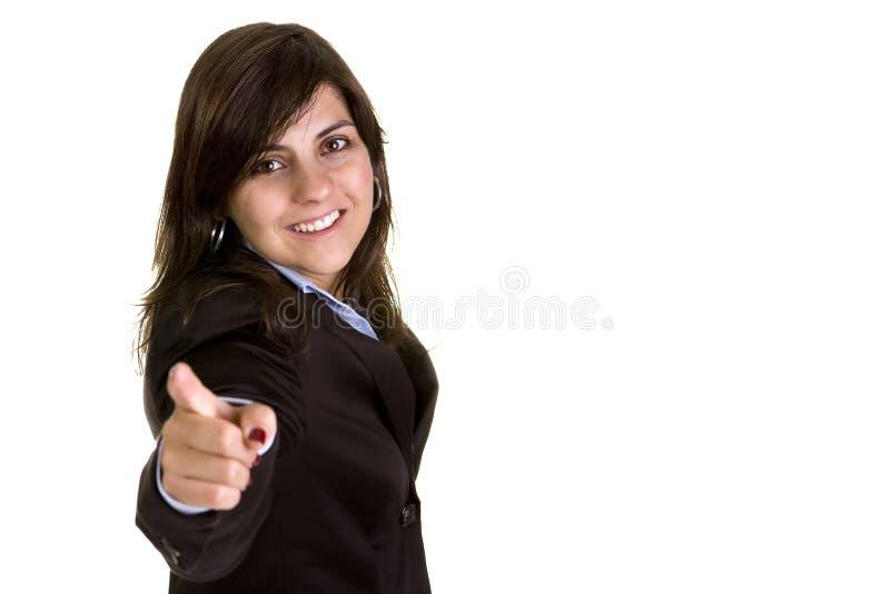 Jeune femme d'affaires indiquant vous photographie stock libre de droits