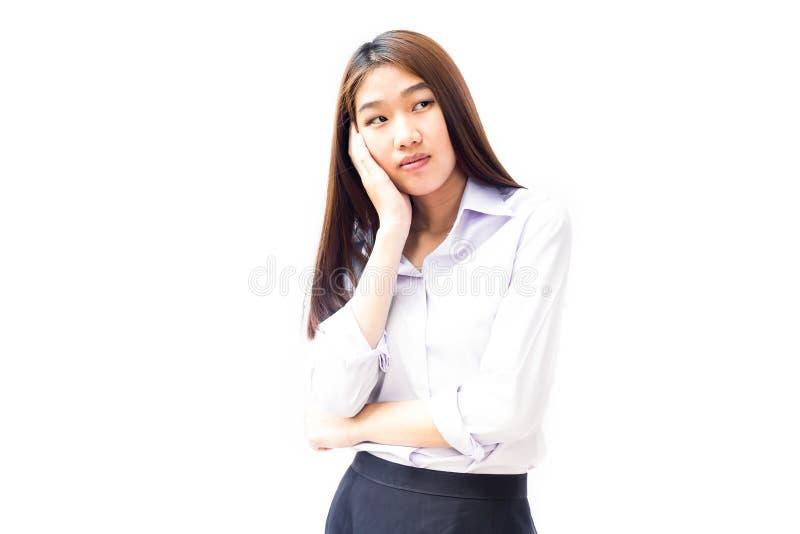 Jeune femme d'affaires pensant au-dessus de quelque chose photo stock