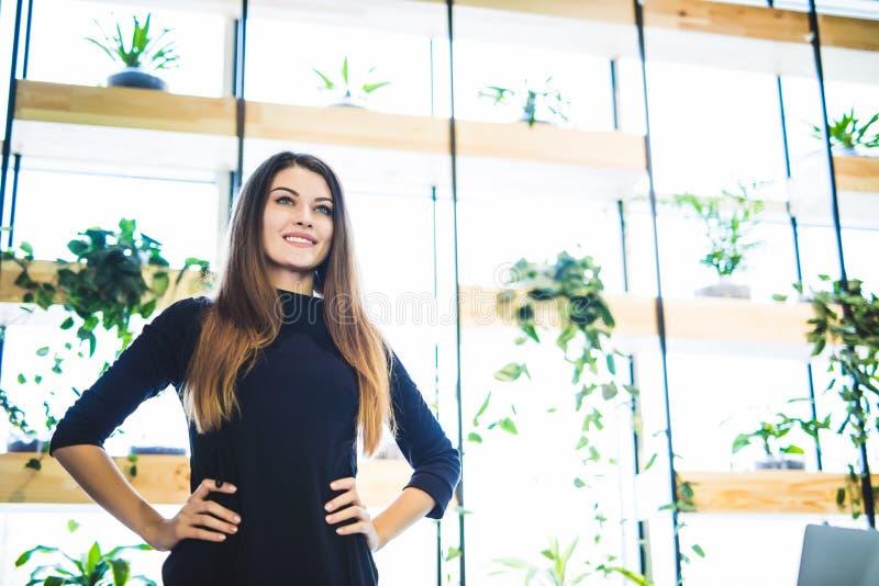 Jeune femme d'affaires près de la fenêtre dans le bureau devant des fleurs photographie stock