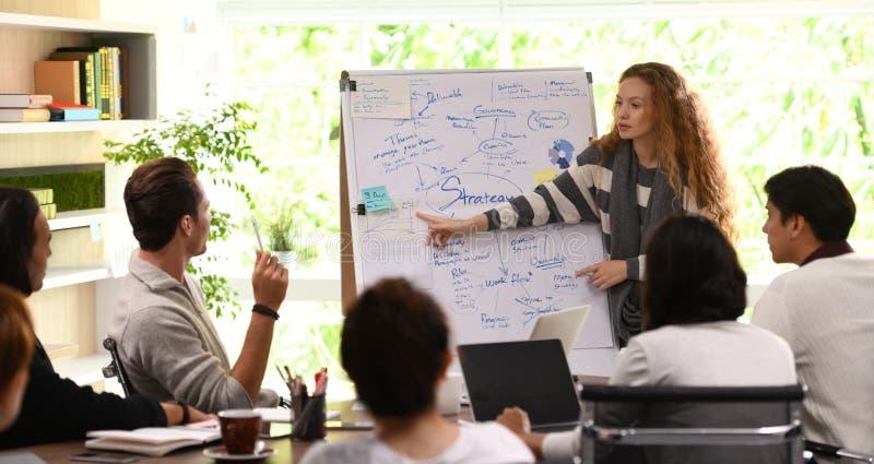Jeune femme d'affaires présentant l'exposé sur les plans futurs photo stock