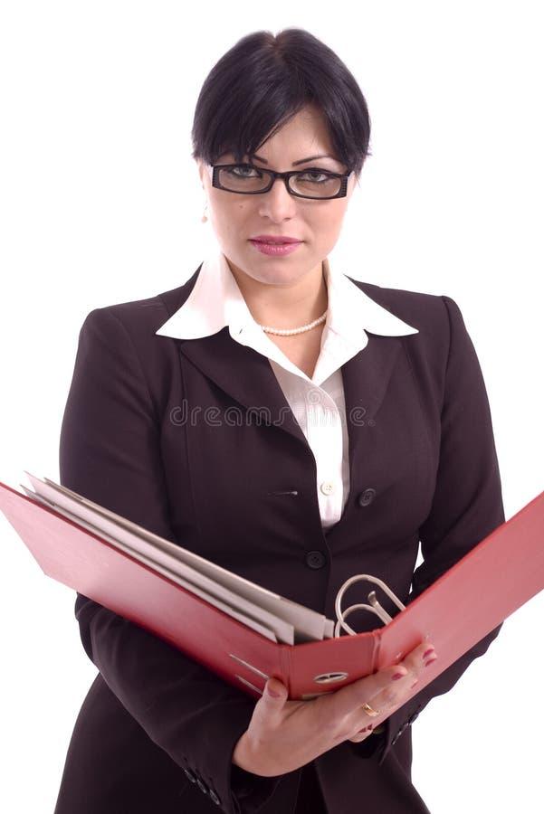 Jeune femme d'affaires retenant un support de fichier photographie stock