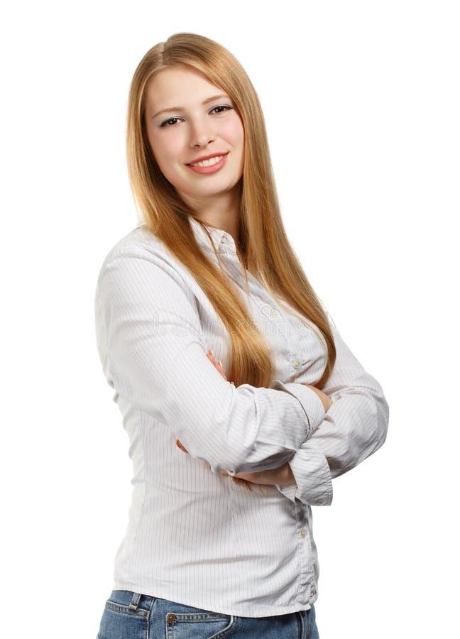 Jeune femme d'affaires sur le fond blanc photos libres de droits