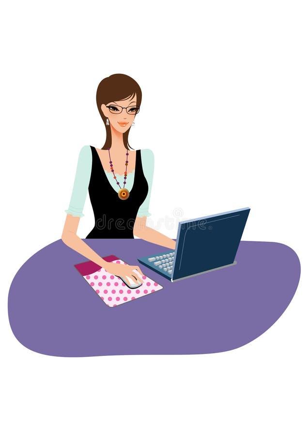 Jeune femme d'affaires sur un ordinateur portatif illustration de vecteur