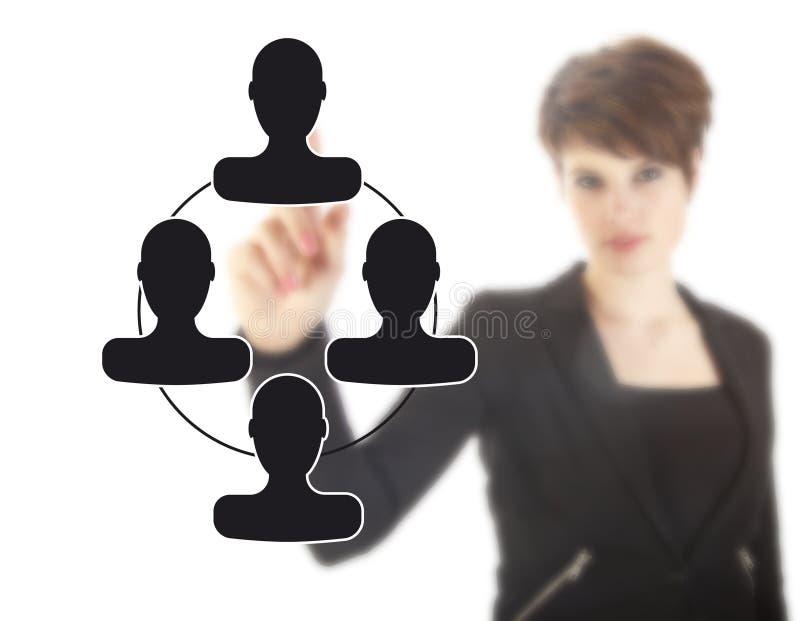 Jeune femme d'affaires Unsharp avec les amis virtuels noirs image stock