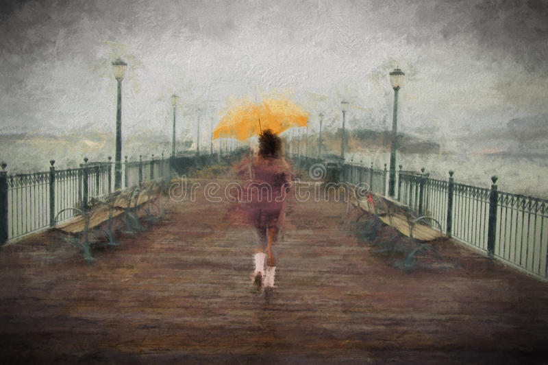 Jeune femme d'afro-américain marchant sur le pilier photos stock